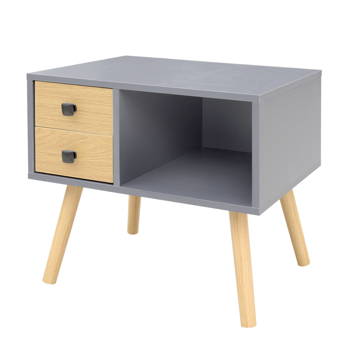 NIGHT STAND W/WOOD LEG (GRAY)