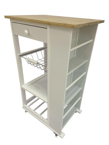 BAMBOO KITCHEN TROLLEY (WHITE C/ BAMBOO)