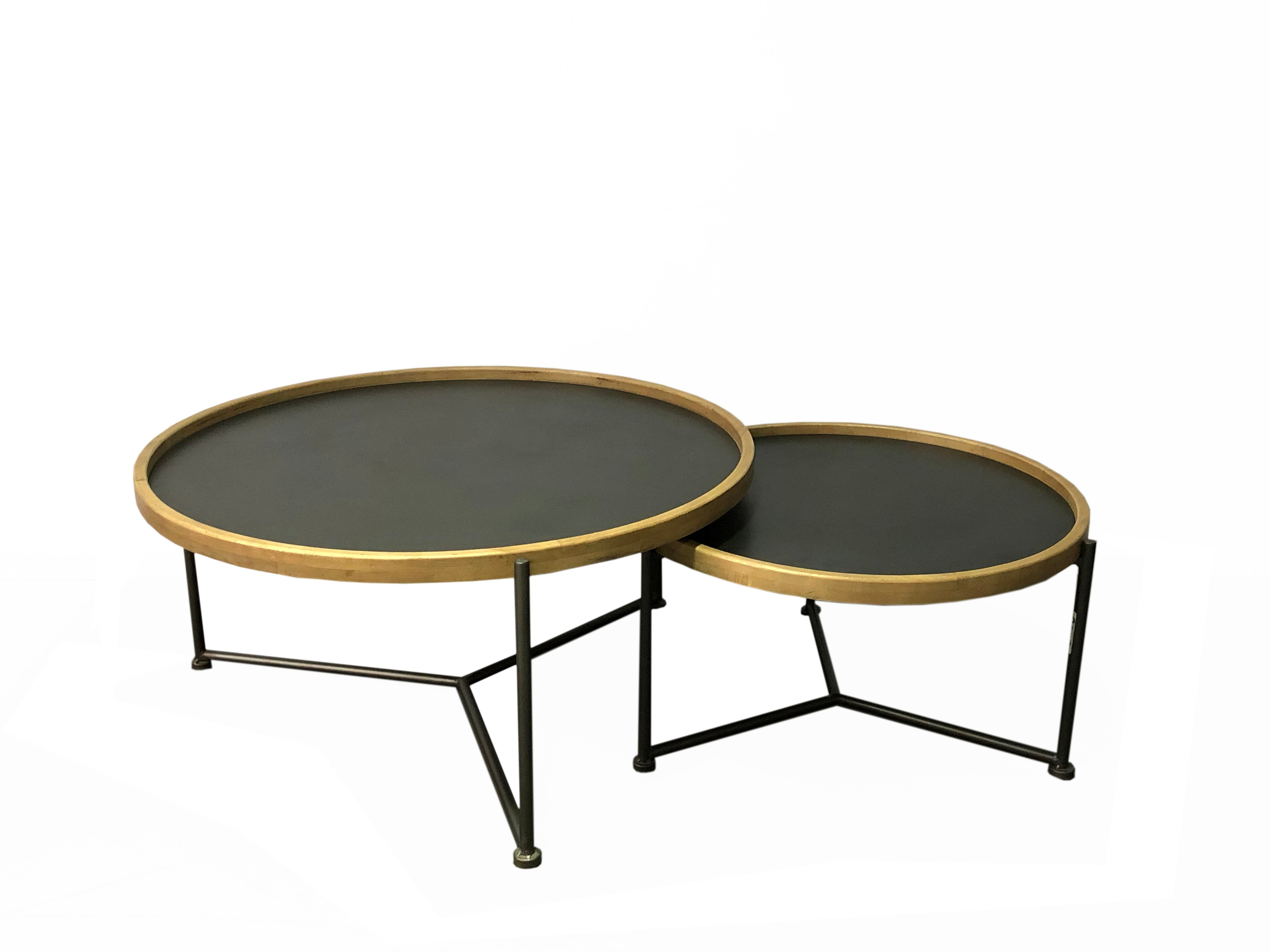 KALIA ROUND COFFEE TABLE SET 25X14X25IN / 33X16X33 IN