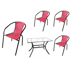 PATIO SET 5PCS. (RED)