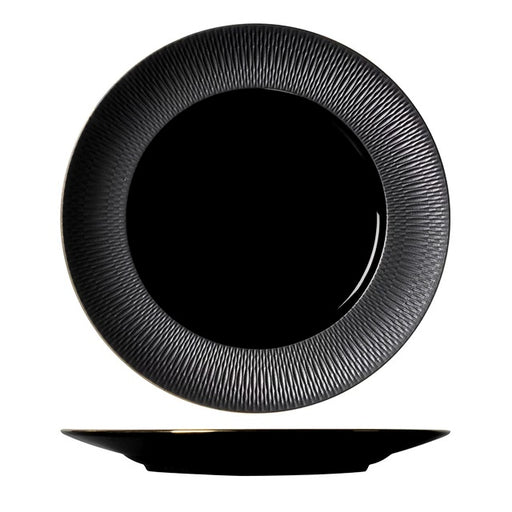"Cherven 11""Inch Matte Black Porcelain Round Plate Gold Rim - Cherven Tableware Supplies"