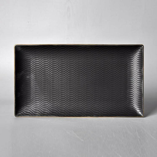 "Cherven 12.5""Inch Stylish Black Matte Rectangular Slate Plate - Cherven Tableware Supplies"