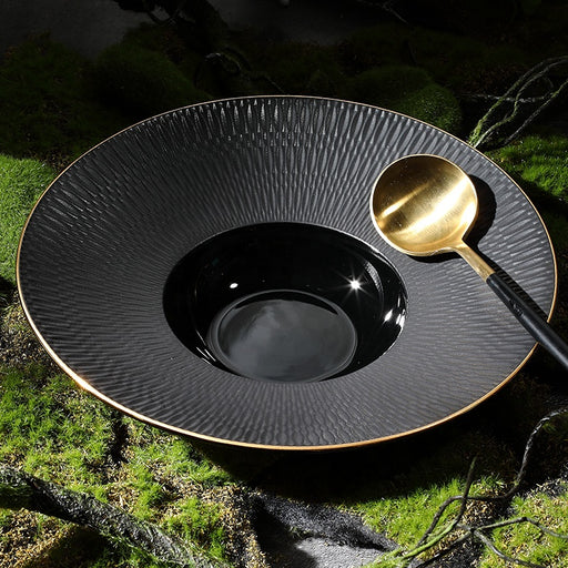 Sphere Black Bowl with Gold Wide Rim & Matt Glazing - Cherven Tableware Supplies