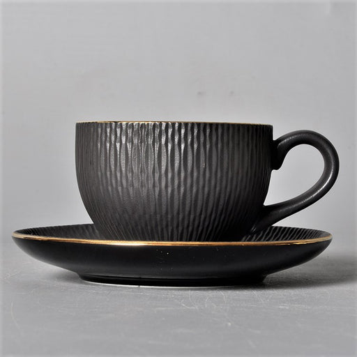 Cherven Matte Noir Porcelain Espresso Cup With Saucer - Cherven Tableware Supplies
