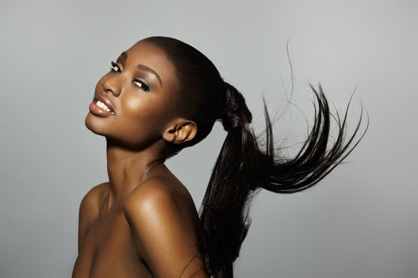 African American Model With Floating Ponytail