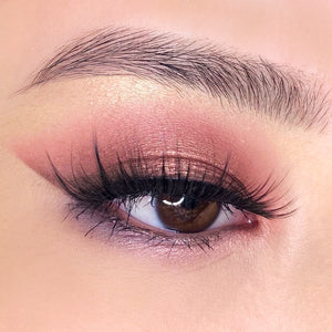 pink warm summer halo glow eyeshadow glow up lashes by The Lash Drip purple under eyeliner natural brows