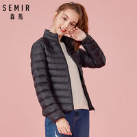 SEMIR 2020 Down Winter Jacket Women Cotton Short Jackets New Down Padded Hooded Warm Autumn Slim Coat Female Casual Tops