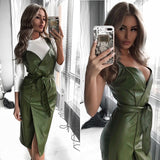 Women Sashes Pu Leather Club Sexy Dress Back Cross Spaghetti Strap Fashion Lady Elegant Dress Knee Length 2019 Vintage v Neck