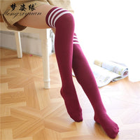Overknee Anime Socks Striped Elastic Leggings All Match Stage Anime Cosplay Costume Adult Cartoon in Carnaval Halloween Party