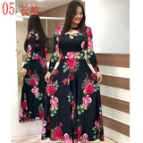 Elegant Spring Autumn Women Dress 2020 Casual Bohmia Flower Print Maxi Dresses Fashion Hollow Out Tunic Vestidos Dress Plus Size