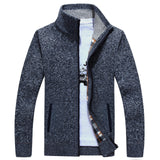 2020 Autumn Winter Men's SweaterCoat Faux Fur Wool Sweater Jackets Men Zipper Knitted Thick Coat Warm Casual Knitwear M-3XL
