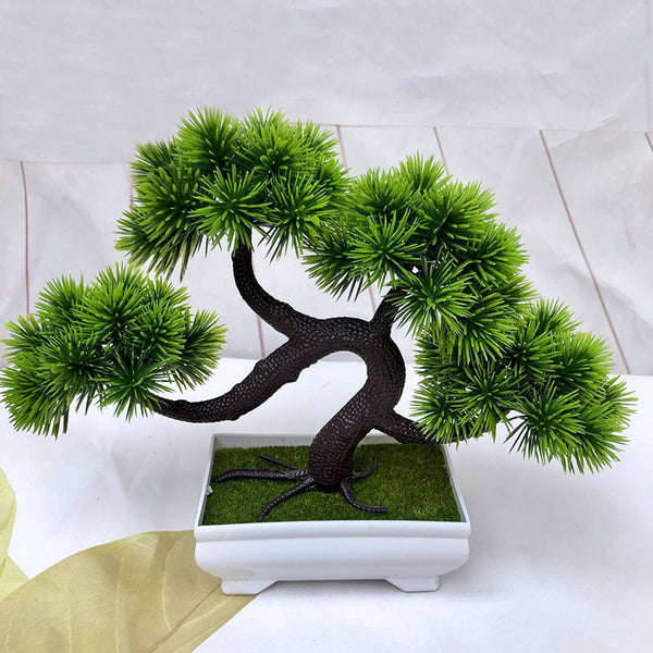 Artificial Green Plants Bonsai Simulation Plastic Small Tree Pot Plant Potted Ornaments for Home Table Garden Decor 52841
