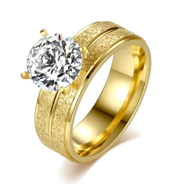 Gold Ring Set Zinc Alloy  Wedding Luxury Zircon Crystal Inlaid Woman Jewelry