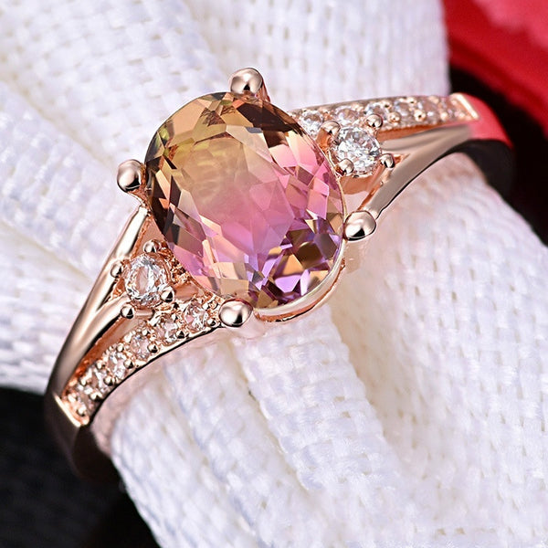 FDLK   Rose Gold Filled with Alloy Bridal Wedding Engagement Ring Personality Charm Jewelry Size 5-12