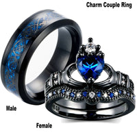 Carofeez Charm Couple Ring Stainless Steel Black Men's Ring Blue Zircon Women's Ring Sets Valentine's Day Wedding Bands