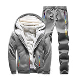 Winter Tracksuits Men Set Casual Thicken Fleece Warm Hooded Jacket Pants Spring Sweatshirt Sportswear Coats Hoodie Track Suits