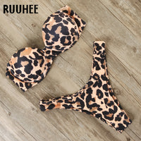 RUUHEE Bikini Swimwear Women Swimsuit 2020 Leopard Brazilian Bikini Set Push Up Bathing Suit Female Summer Beach Wear Biquini