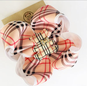 *PANDI - Burberry White ** Boutique Ribbon Bow Hair Clips Glitter /  MEDIUM