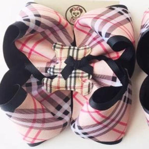 *PANDI - Burberry BLACK ** Boutique Ribbon Bow Hair Clips Glitter /  MEDIUM