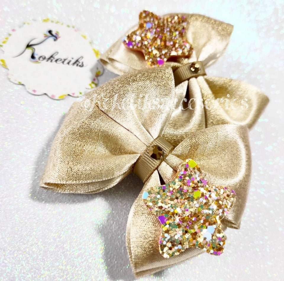 GOLD BOW W/ CROWN - Boutique Ribbon Hair Bow (set of 2)