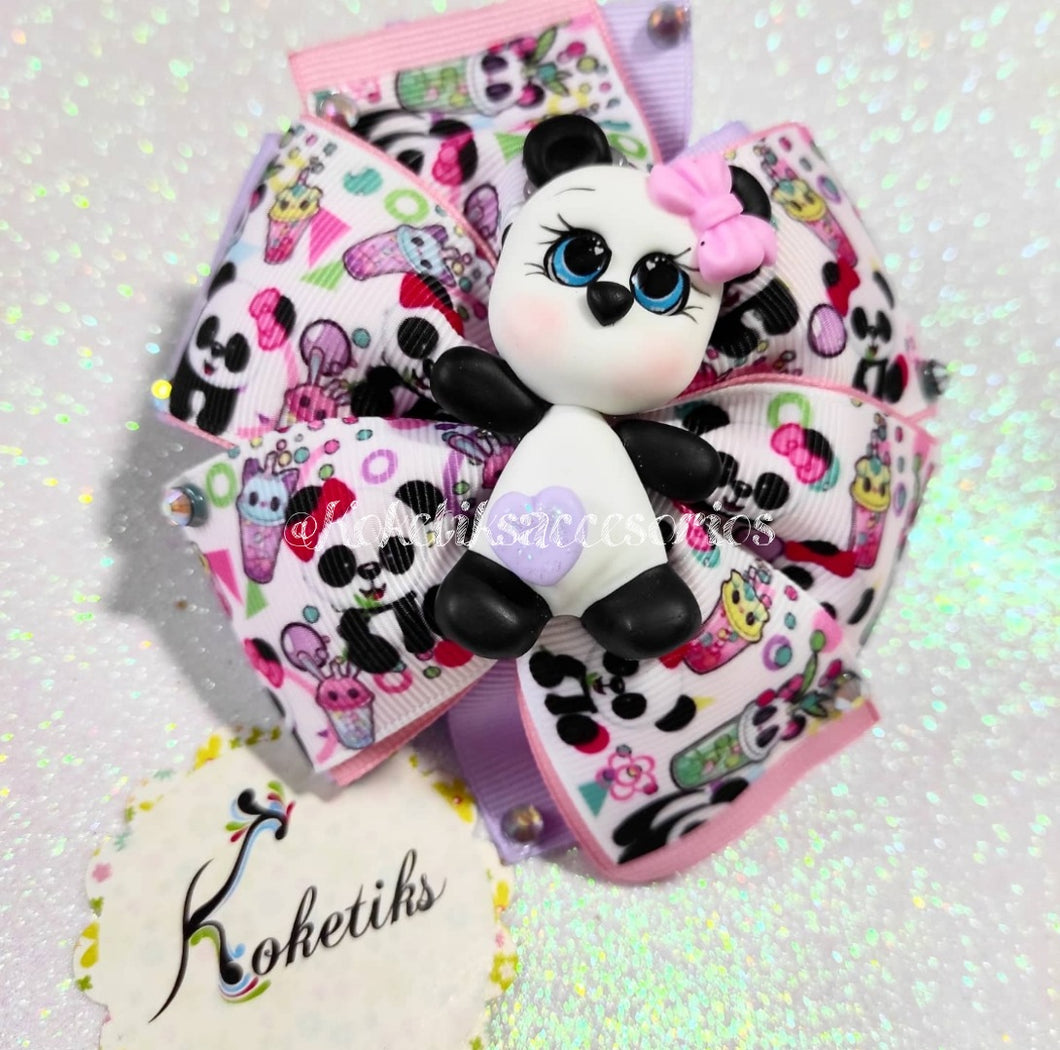 PANDA PINK ** Ribbon Boutique Bow / 4