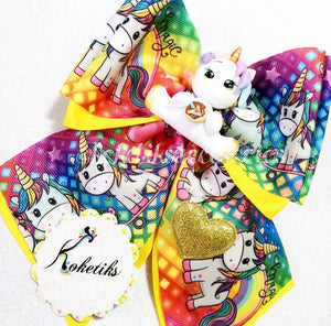 "UNICORNIO ** Ribbon Boutique Bow / 6"" (Clay Applique)"
