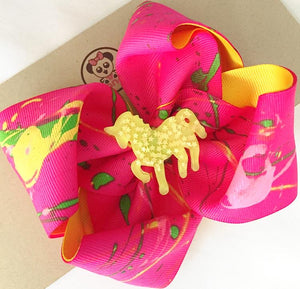 *PANDI - Gia Collection, Hand Painted** Boutique Ribbon Bow Hair Clips Glitter / MEDIANO