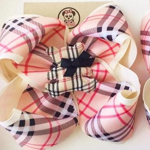 *PANDI - Burberry BEIGE ** Boutique Ribbon Bow Hair Clips Glitter / MEDIUM