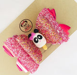 "Hot Pink Panda Applique / PANDI Glitter * XL 5"" * - My Sprinkle Girl"