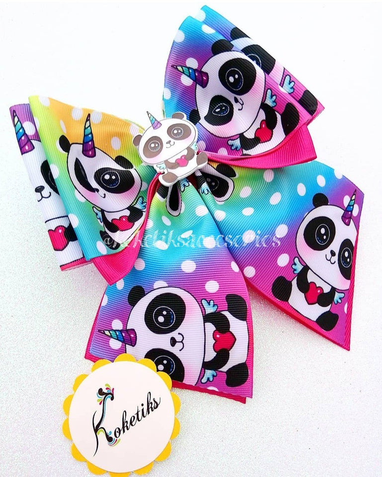 "Panda ** Ribbon Boutique Bow / 6"" - My Sprinkle Girl"