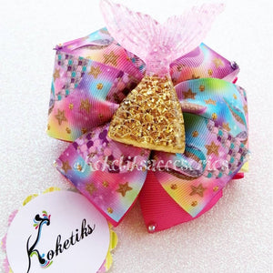 "Mermaid Tail Hot Pink ** Ribbon Boutique Bow / 4"" - My Sprinkle Girl"