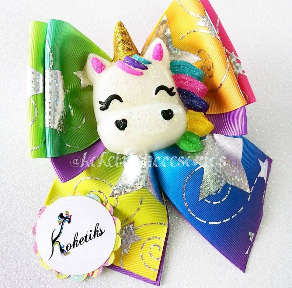 "UNICORN ** Ribbon Boutique Bow / 6"" (BIG Applique) - My Sprinkle Girl"