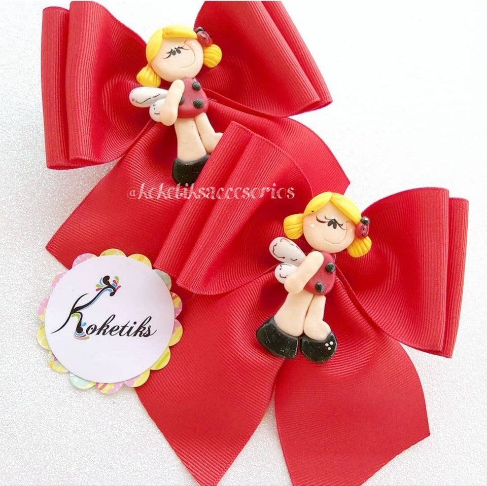 "Lady Bug Doll ** Ribbon Boutique Bow / 4.5"" (set of 2) - My Sprinkle Girl"