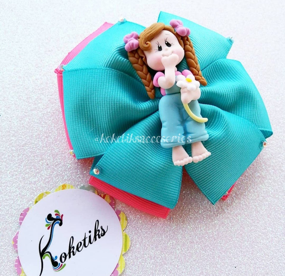 "Pijama Doll Turquoise ** Ribbon Boutique Bow / 4"" - My Sprinkle Girl"