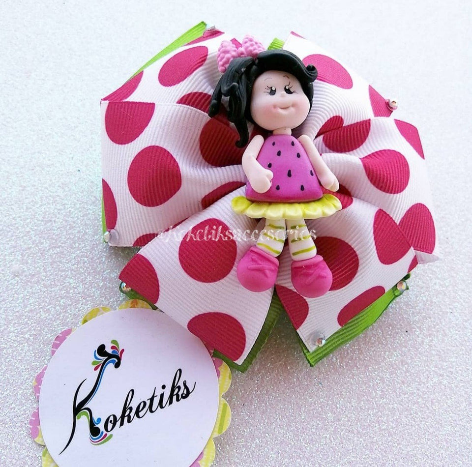 "Strawberry Ballerina Doll Black Hair ** Ribbon Boutique Bow / 4"" - My Sprinkle Girl"