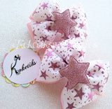 Glitter Stars Pink / Boutique Ribbon Hair Bow (set of 2) - My Sprinkle Girl