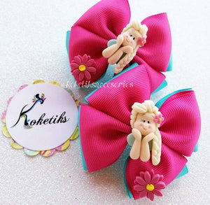Elsa / Boutique Ribbon Hair Bow (set of 2) Hot Pink - My Sprinkle Girl