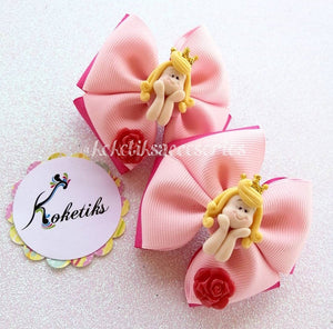 Sleeping Beauty / Boutique Ribbon Hair Bow (set of 2) - My Sprinkle Girl
