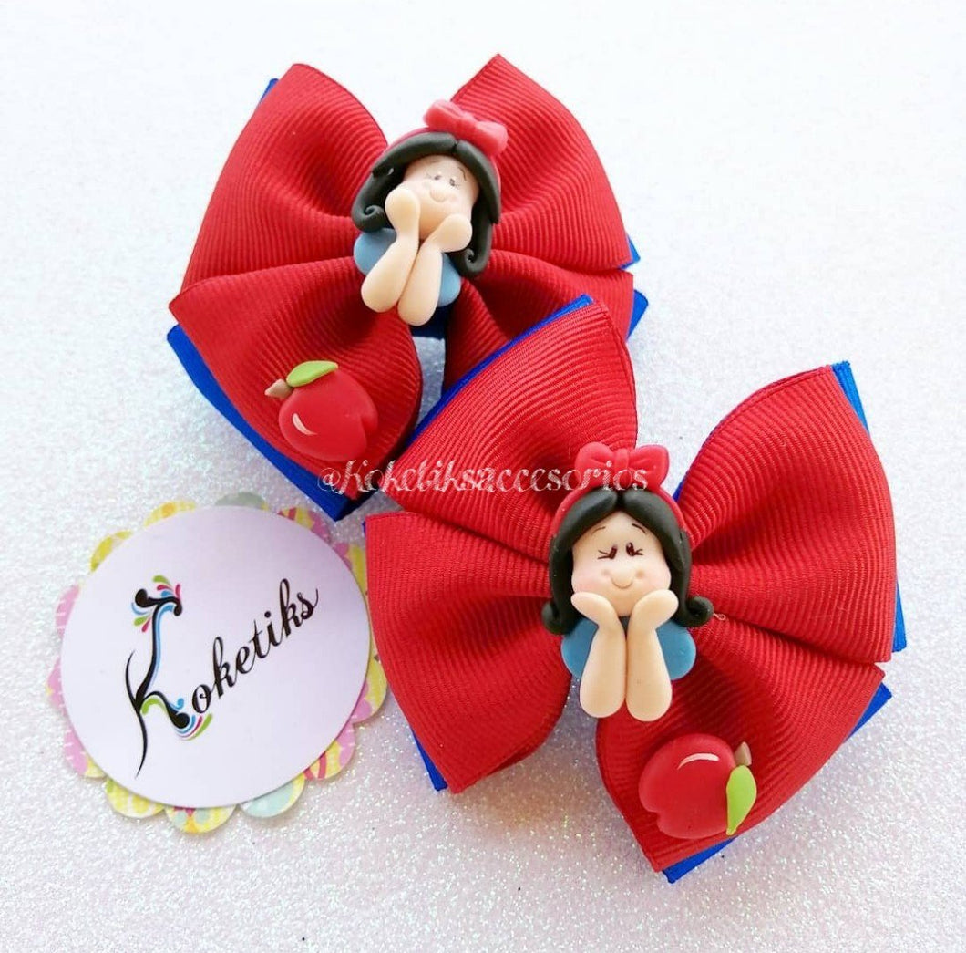 Snow White / Boutique Ribbon Hair Bow (set of 2) - My Sprinkle Girl