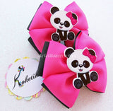 Cute Panda / Boutique Ribbon Hair Bow (set of 2) - My Sprinkle Girl