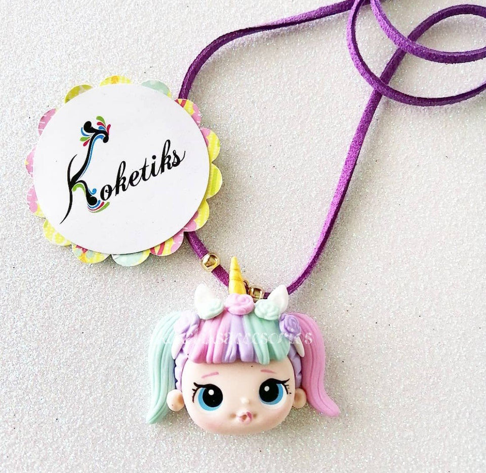 LOL Unicorn Purple Leather Necklace (ONLY NECKLACE) - My Sprinkle Girl