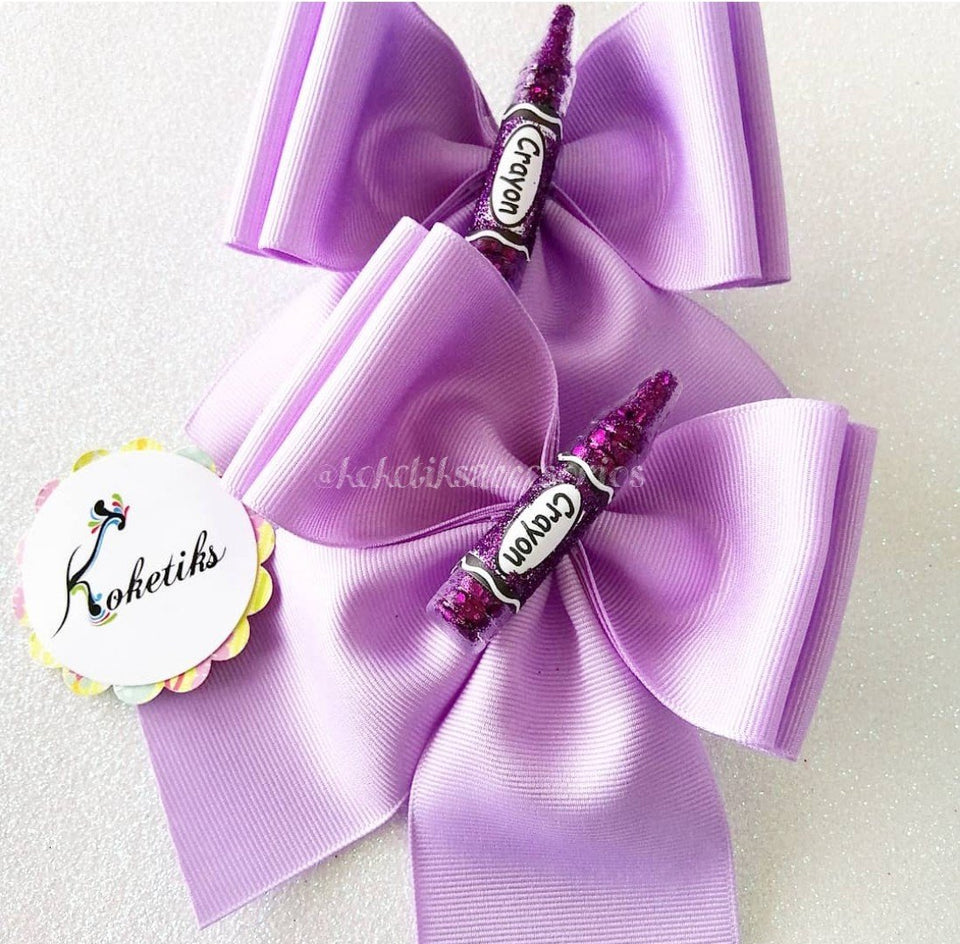 "Back to School!!! Crayola Lilac ** Ribbon Boutique Bow / 6"" (set of 2) - My Sprinkle Girl"