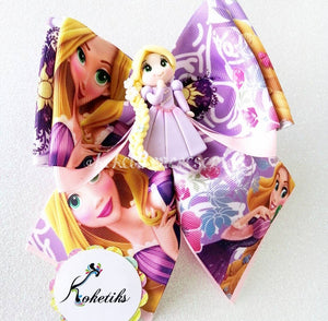"RAPUNZEL ** Ribbon Boutique Bow / 6"" (Clay Applique) - My Sprinkle Girl"