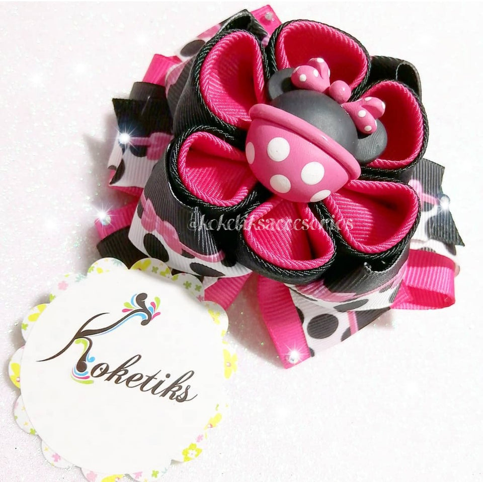 "* KOKETIKS - MINNIE HOT PINK ** Ribbon Boutique Bow / 4"" Disney"