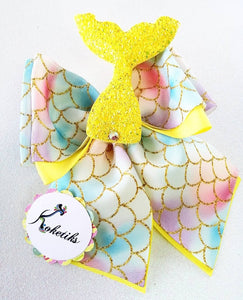 "Mermaid Tail  ** Ribbon Boutique Bow / 6"" (with Applique) - My Sprinkle Girl"