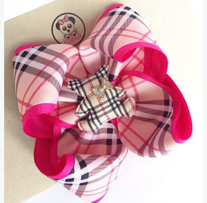 Burberry Hot Pink ** Boutique Ribbon Bow Hair Clips Glitter / PANDI MEDIUM - My Sprinkle Girl