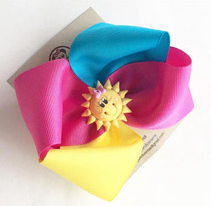 Bright Sun ** Boutique Ribbon Bow Hair Clips / PANDI - My Sprinkle Girl