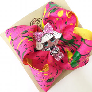 LOL Gia Collection, Hand Painted** Boutique Ribbon Bow Hair Clips Glitter / MEDIANO PANDI - My Sprinkle Girl
