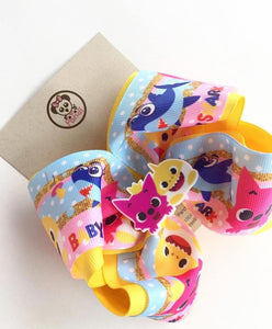 BABY SHARK ** Boutique Ribbon Bow Hair Clips Glitter / PANDI Yellow - My Sprinkle Girl