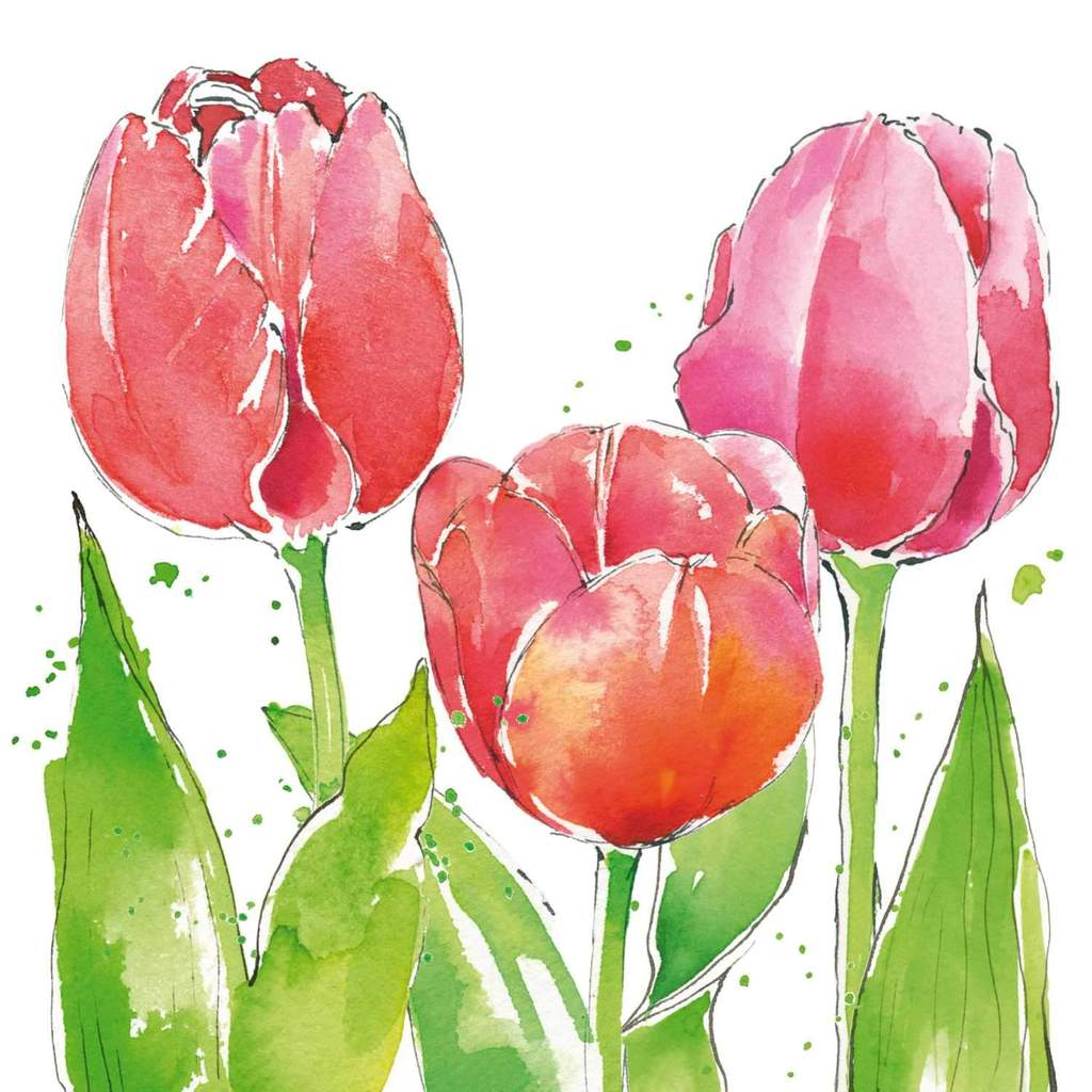 Napkin Pink Tulips Floral